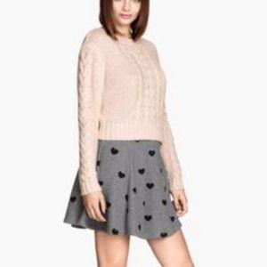 H&M Gray Heart Print Skater Skirt